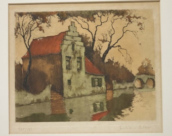 Canal View With House in Belgium Colored Engraving ~ Julien Celos Listed Artist ~ Art Print Painting Plate Engraving