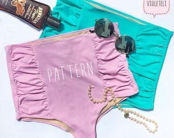 High Waisted Bikini Bottom Sewing Pattern - Cheeky Bottoms - PDF Bathing Suit Pattern