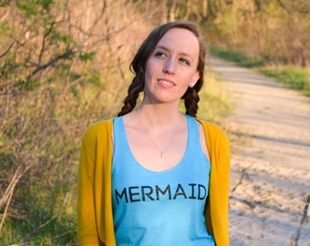Women's Ocean Turquoise & Shimmer Ink Graphic Tank / Mermaid Tank
