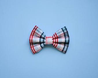 Red & Blue Plaid Print Bow / Boys Ahoy Bow