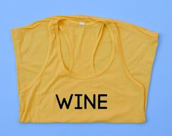 Women's Yellow Graphic Tank / White Wine Tank