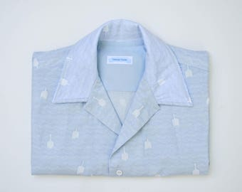 Blue & White Wave + Buoy Men's Button Up Shirt / Buoys Will Be Buoys Shirt