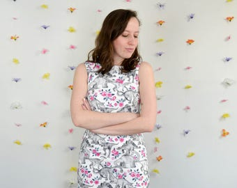 White, Grey & Pink Dinosaur + Rose Print Dress / Tea Rex Dress