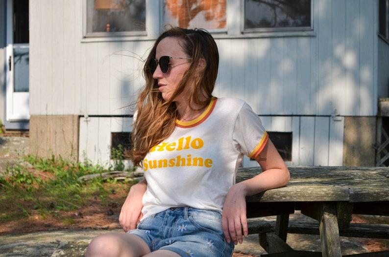 Hello Sunshine Tee / Double Ringer Retro Screen Print T-shirt image 0