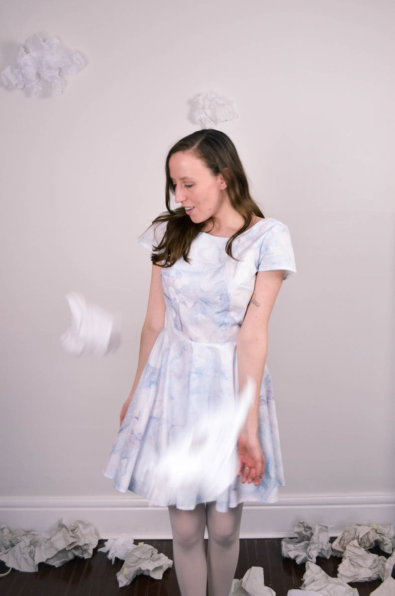 NOW or NEVER Marble Dress in Blue  Pink  / Daydreamer Dress image 0