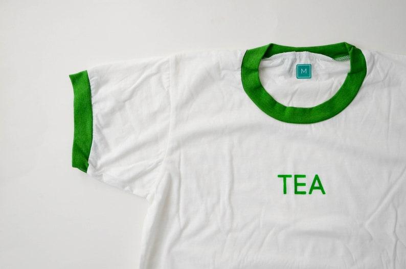 Tea T-Shirt / White & Green Retro Ringer Unisex Tee M Men's