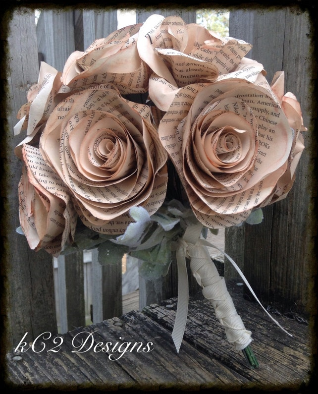 Book Page Roses Wedding Bouquet Bridal Bouquet Wedding Etsy