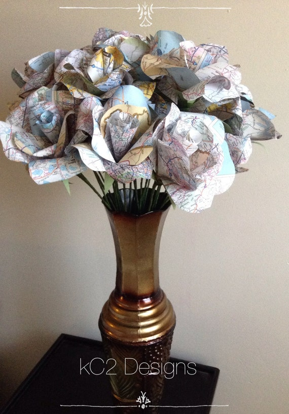 Map Paper Roses Set Of Paper Roses Wedding Centerpiece Etsy