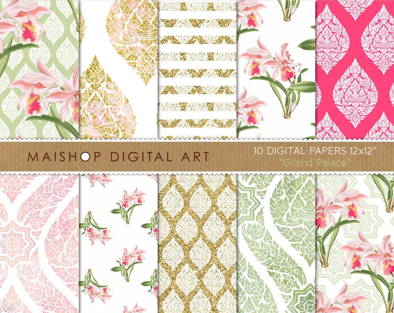 Floral Digital Paper Grand Palace Scrapbook Paper Etsy
