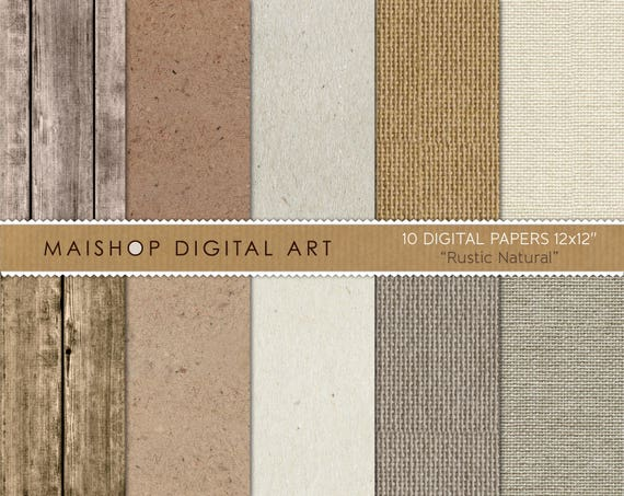 Digital Paper Rustic Natural Scrapbook Papers Wood Etsy