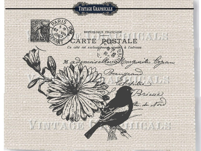 Decoration Carte Postale.Paris Carte Postale Decor Printable Flower Bird Digital Download Image For Iron On Fabric Transfer Sheet Burlap Decoupage Pillow Cards 729