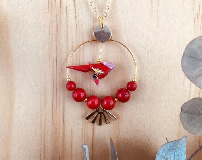 Origami red bird necklace