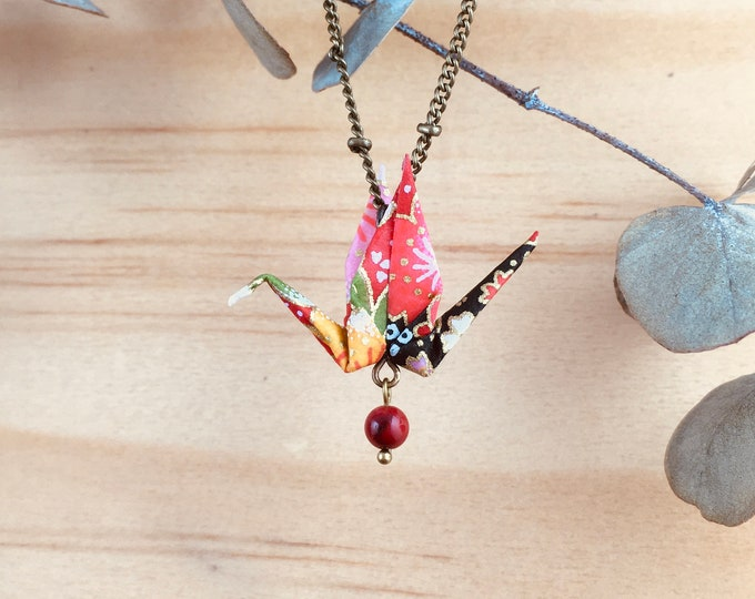 Origami crane necklace, red bird necklace