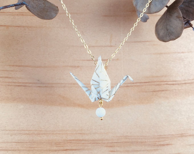 Origami crane necklace, beige bird necklace