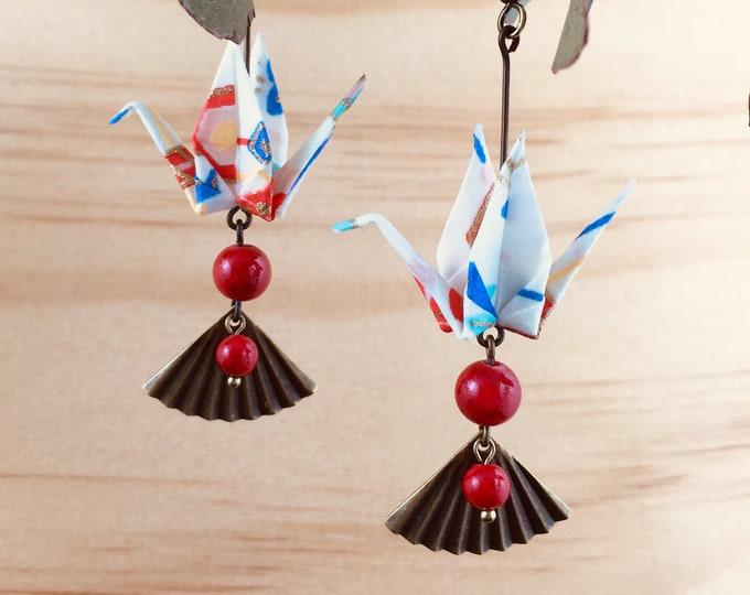 Origami crane earrings, red washi paper birds