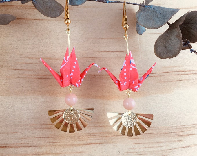 Origami crane earrings, washi paper birds
