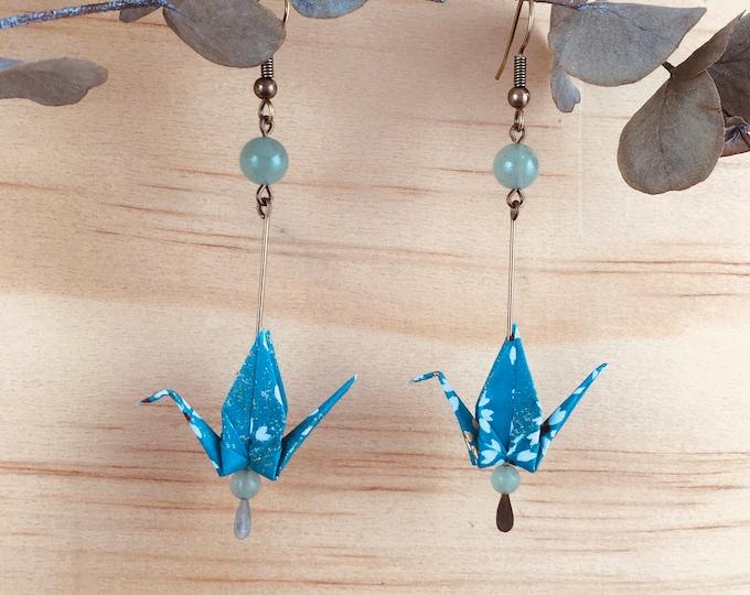 Origami crane earrings, green washi paper birds