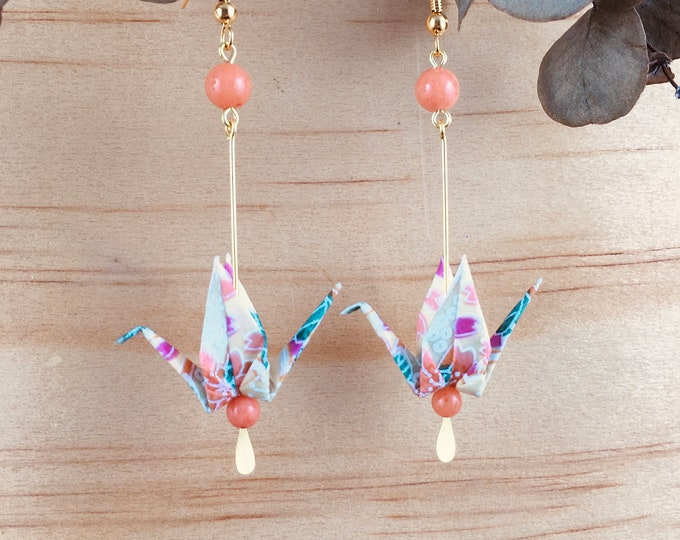 Origami crane earrings, orange washi paper birds