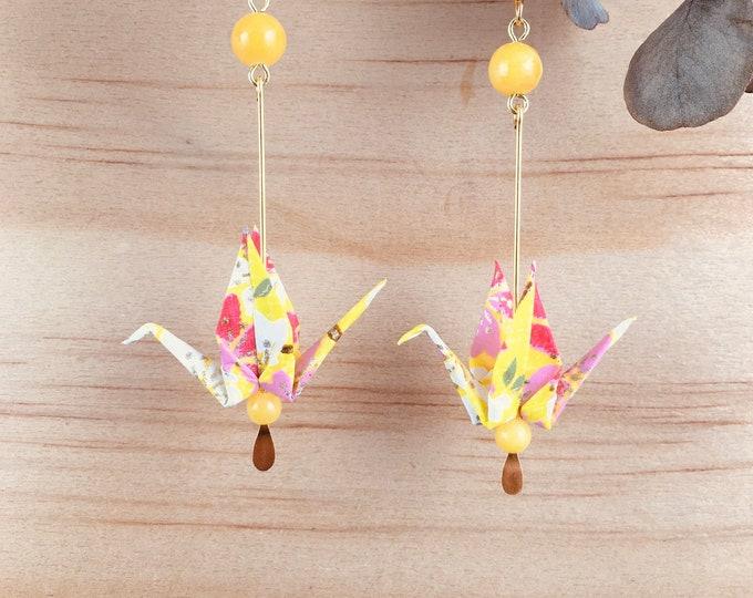 Origami crane earrings, yellow washi paper birds
