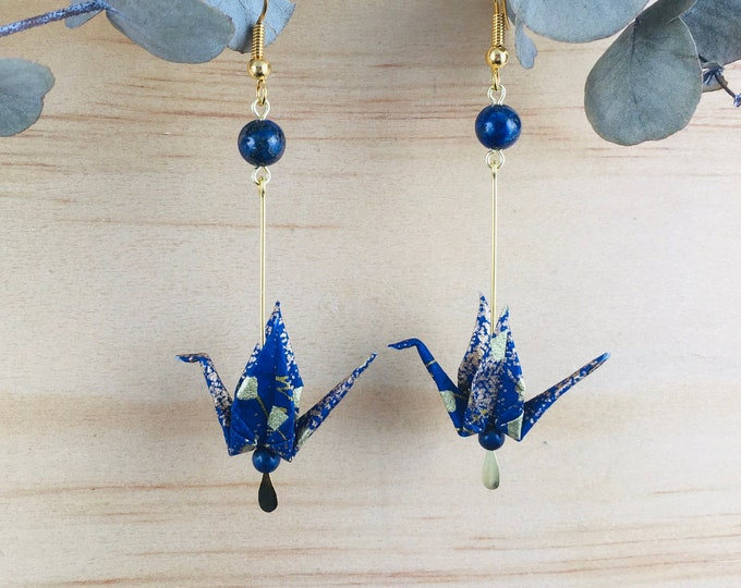 Origami crane earrings, blue washi paper birds