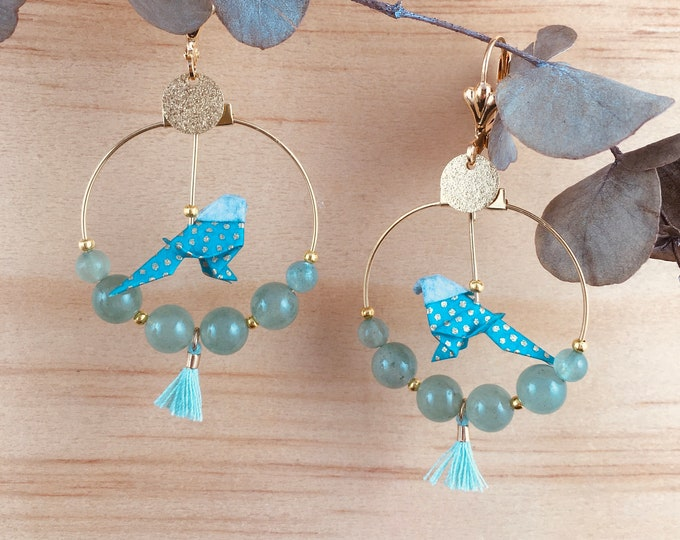 Origami birds large hoop earrings, green earrings for women
