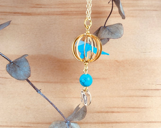 Origami bird in a cage necklace, blue budgie jewel