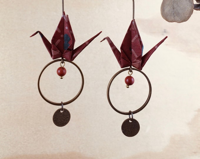 Origami crane earrings, brown washi paper birds