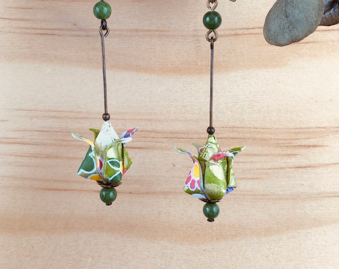 Origami tulips earrings