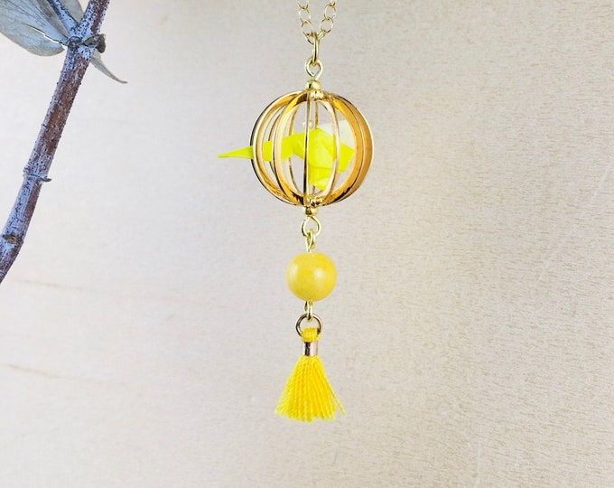 Origami bird in a cage necklace, yellow budgie jewel