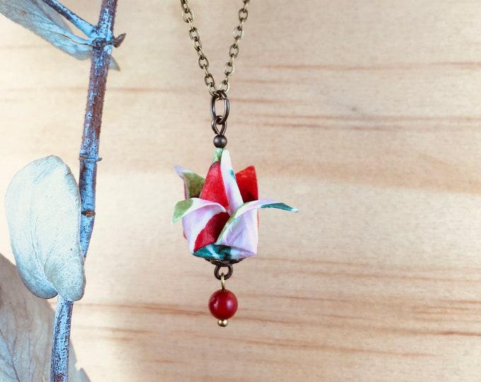 Origami tulip necklace