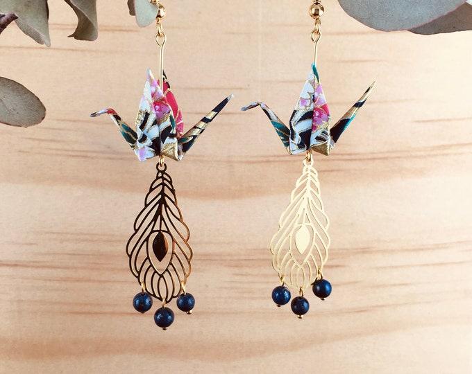 Origami crane earrings, blue washi paper birds