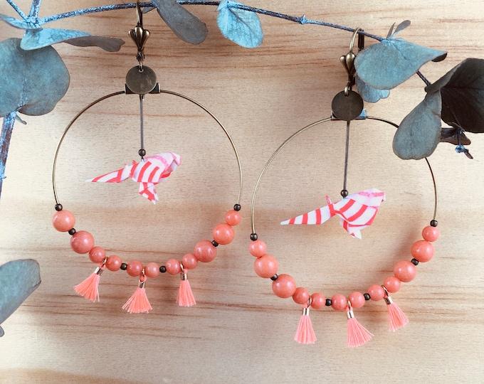 Origami birds large hoop earrings, coral earrings for women