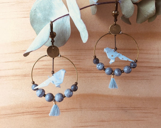 Origami birds large hoop earrings, grey earrings for women