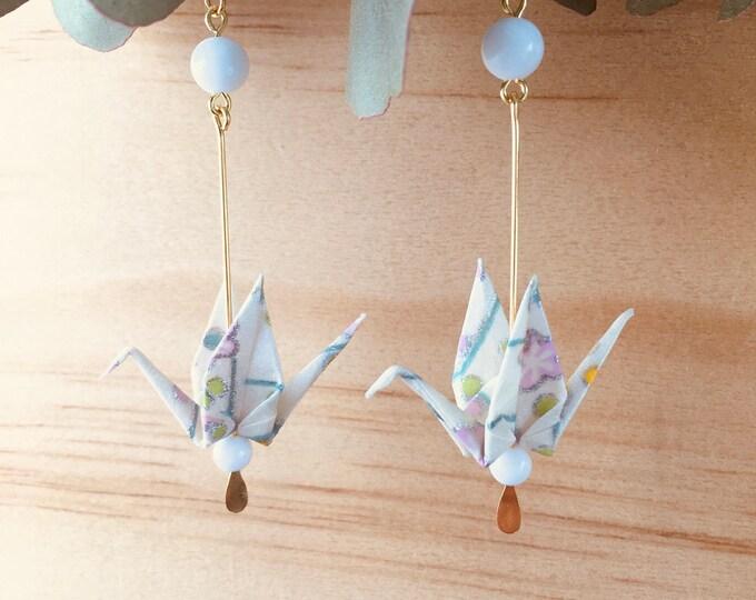 Origami crane earrings, white washi paper birds