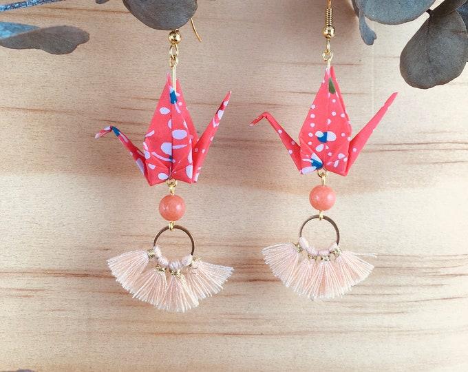 Origami crane earrings, orange washi paper birds