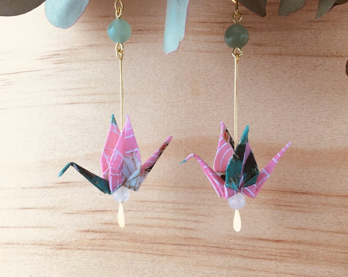 Origami crane earrings, green and pink washi paper birds