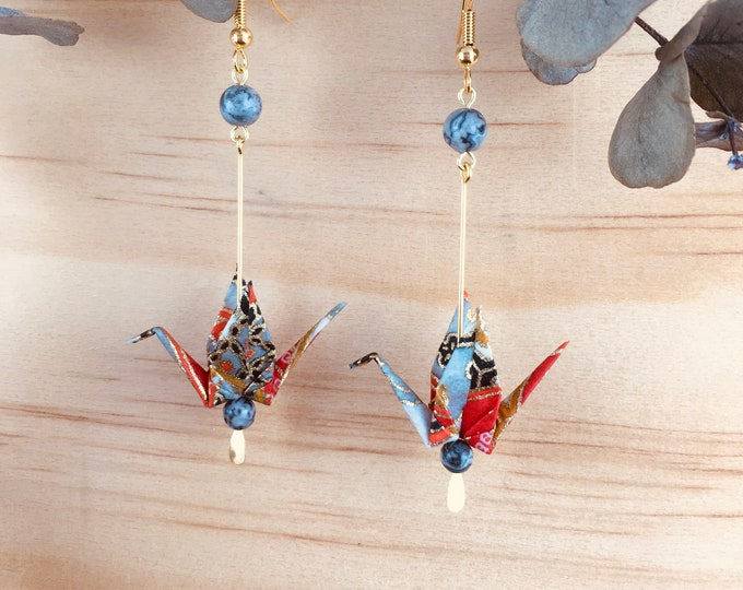 Origami crane earrings, red washi paper birds