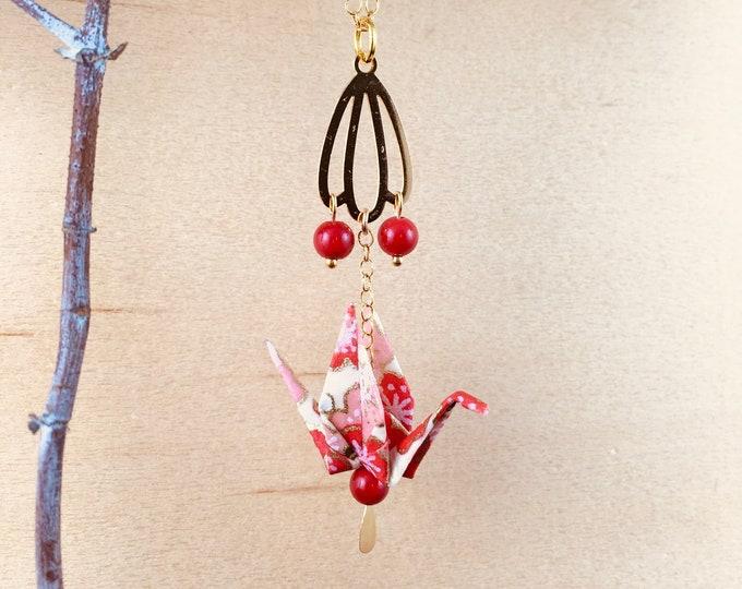 Origami crane necklace