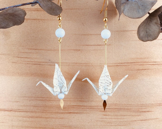 Origami crane earrings, washi paper birds
