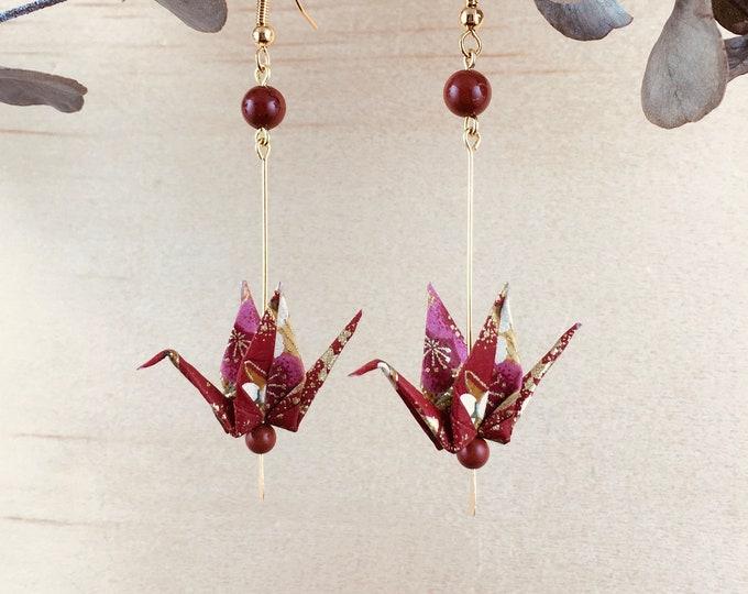 Origami crane earrings, brown washi paper birds