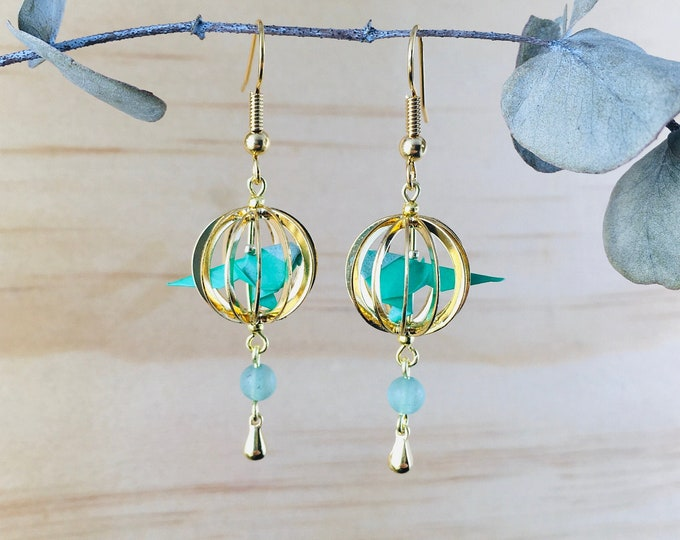 Origami birds earrings * KAGO *  Budgies in a cage