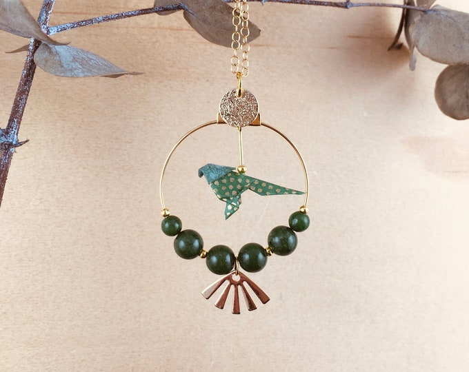 Origami green bird necklace