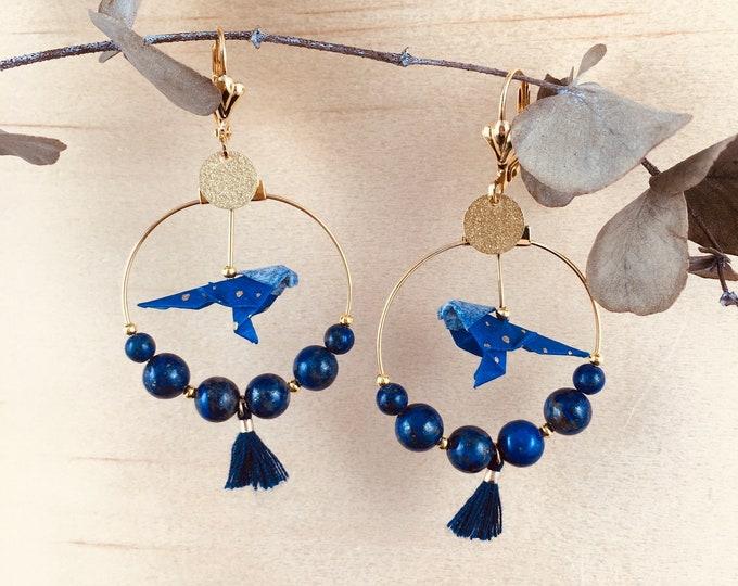 Origami birds large hoop earrings, yellow earrings for women