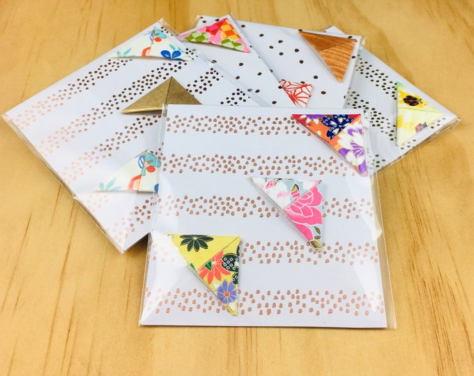 Pack of three origami bookmarks