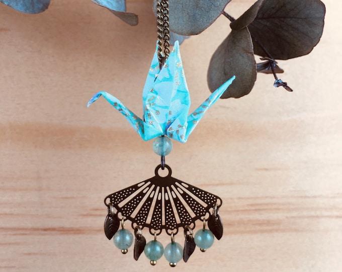 Origami crane necklace, grren bird necklace
