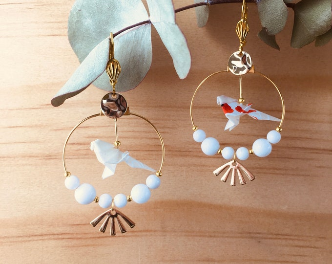 Origami birds large hoop earrings, white earrings for women
