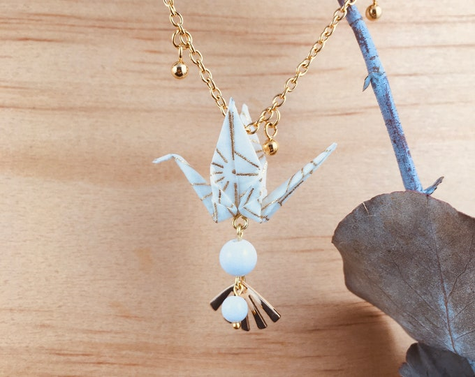 Origami crane necklace, white bird necklace
