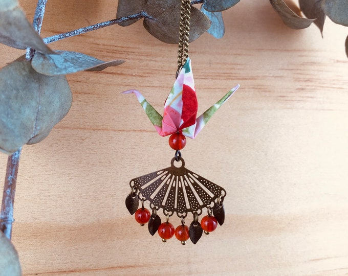 Origami crane necklace, red bird necklace