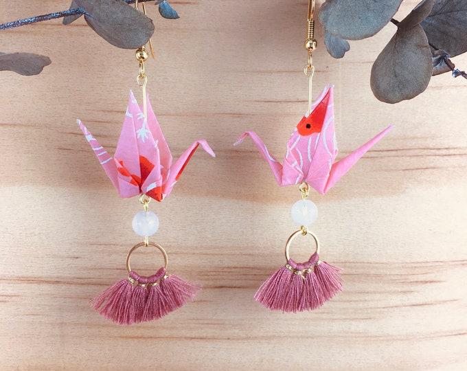 Origami crane earrings, pink washi paper birds