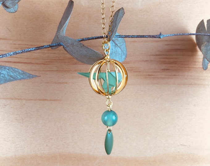 Origami necklace bird in a cage green and gold * KAGO *